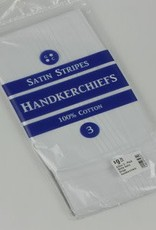 Gilton 3-Pack White Satin Stripe Handkerchiefs