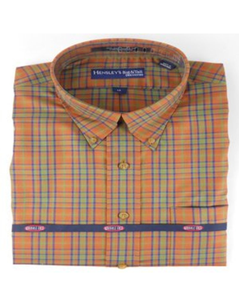 Hensley Hensley's Wrinkle Free Rust Micro Plaid Shirt