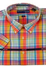 Hensley's Wrinkle Free Orange Large Plaid Shirt