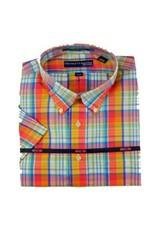 Hensley Hensley's Wrinkle Free Orange Large Plaid Shirt