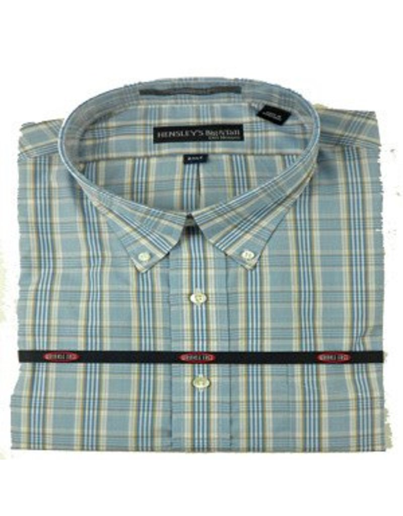 Hensley Hensley's Wrinkle Free Khaki & Blue Plaid Shirt