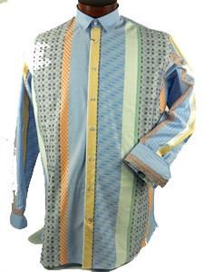 Luchiano Visconti Luchiano Visconti Blue/Peach Panel Shirt