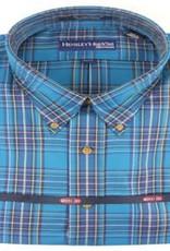 Hensley's Wrinkle Free Teal Plaid Shirt