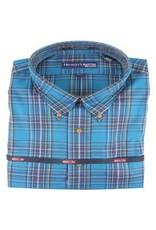 Hensley Hensley's Wrinkle Free Teal Plaid Shirt
