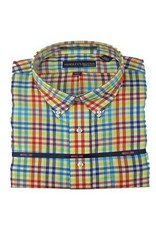 Hensley Hensley's Wrinkle Free Turqois Multi Color Plaid