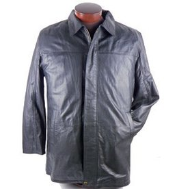 Scully Black Lamb Leather Car Coat