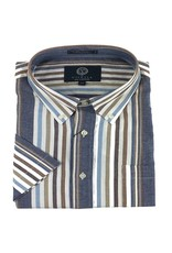 Viyella SS Cotton Madras Blue Stripe Shirt
