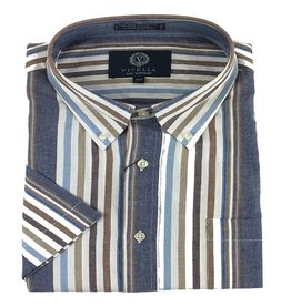 Viyella SS Cotton Madras Blue Stripe Shirt