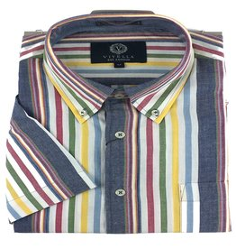 Viyella SS Cotton Madras Multi Stripe Shirt