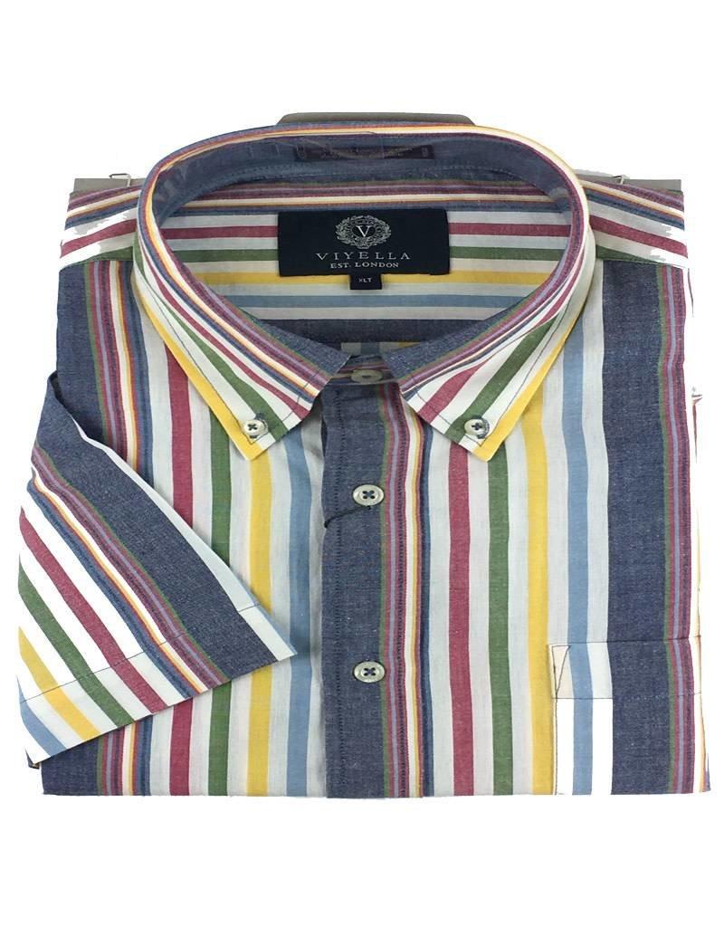 Viyella SS Cotton Madras Multi Stripe Shirt