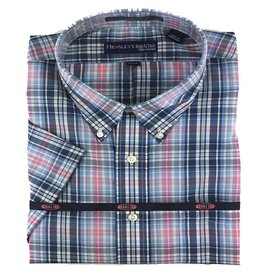 Hensley Hensley's SS Wrinkle Free Blue Plaid Shirt