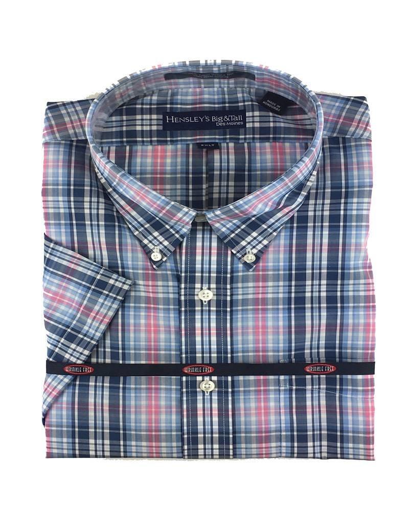 Hensley Hensley's SS Wrinkle Free Blue Plaid Shirt