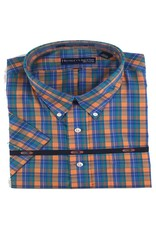 Hensley Hensley's SS Wrinkle Free Orange Plaid Shirt