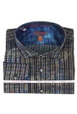 Luchiano Visconti Luchiano Visconti LS Brown/Blue Vertical Shirt