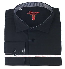 Luchiano Visconti Luchiano Visconti LS Black Solid Tonal Shirt