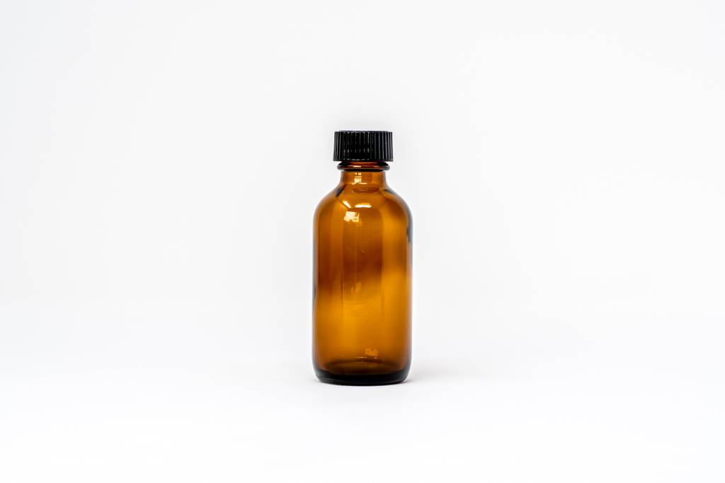 2 oz Amber Glass Bottles W/Flat Lid