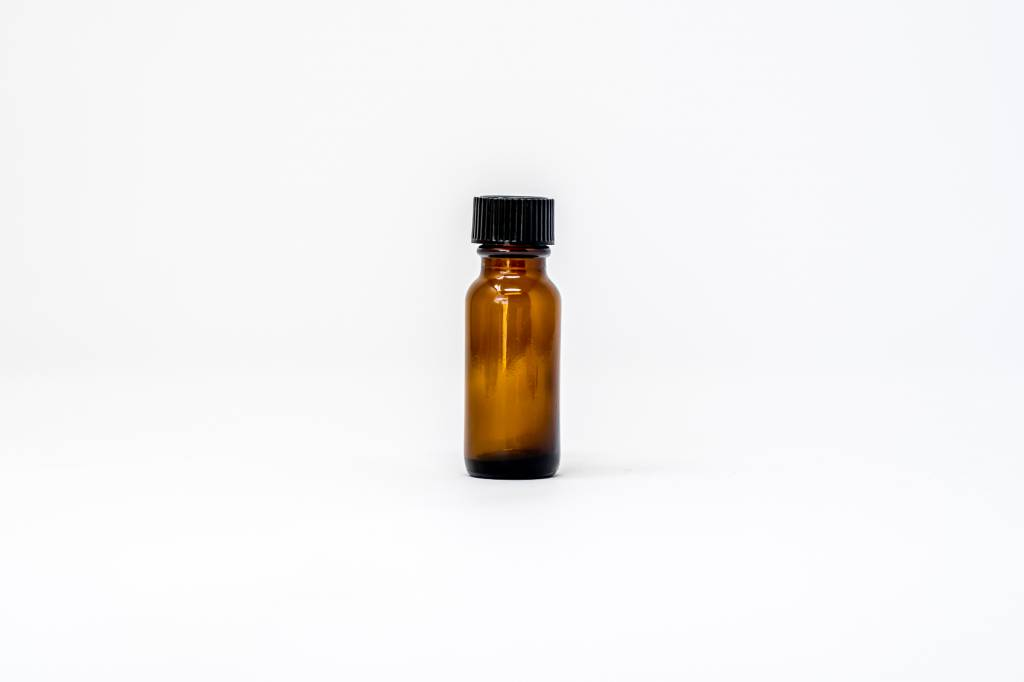 1/2 oz Amber Glass Bottles W/ Flat Lid