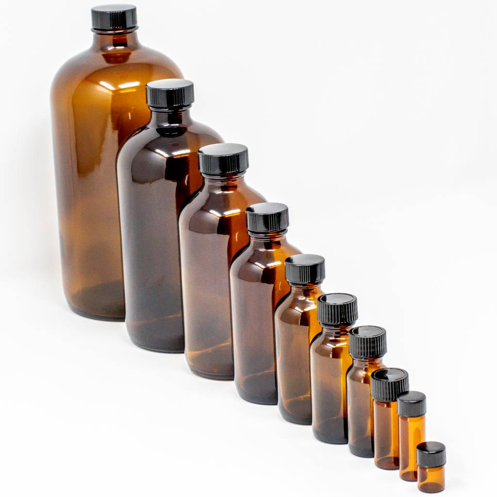 1/4 oz Amber Glass Bottles W/Flat Lid