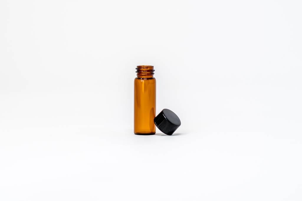 1/8 oz Amber Glass Bottles W/Lid