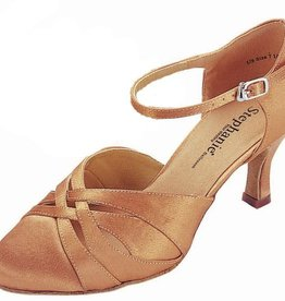 "Stephanie Closed Toe Tan Satin 2"" 15016-65"