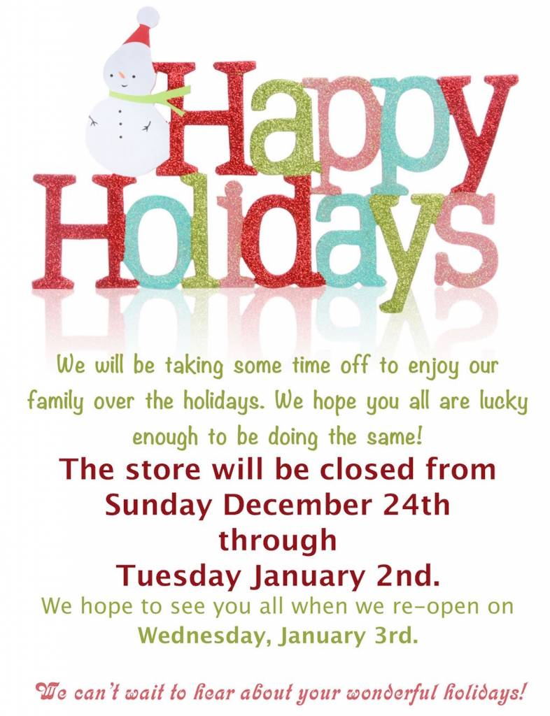 Holiday Hours, or lack there of ...