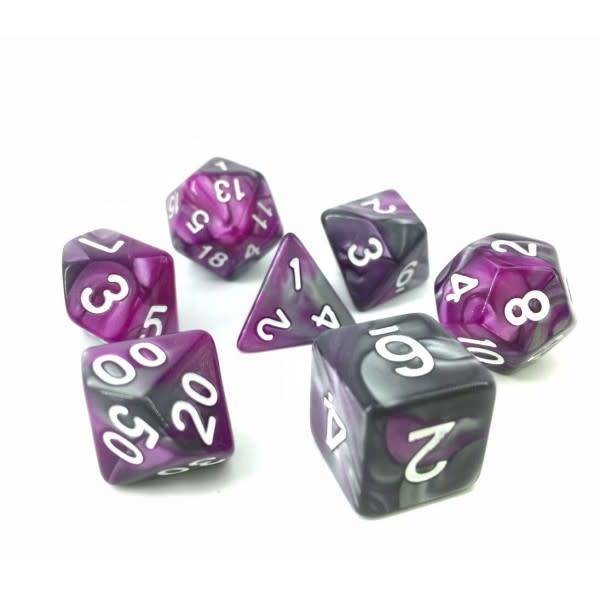 HD Dice, LLC. Blend Silver-Purple Poly Dice (7)