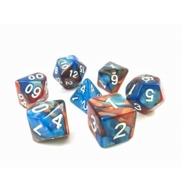 HD Dice, LLC. Blend Copper-Blue Poly Dice (7)