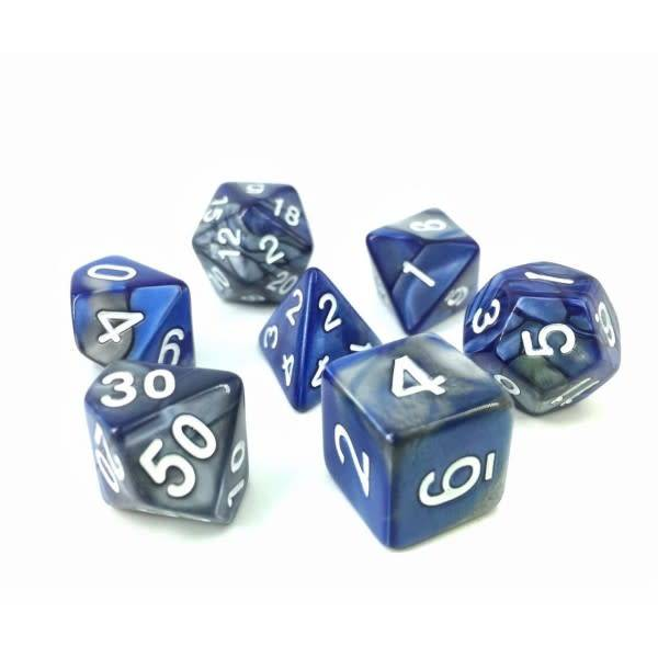 HD Dice, LLC. Blend Silver-Blue Poly Dice (7)