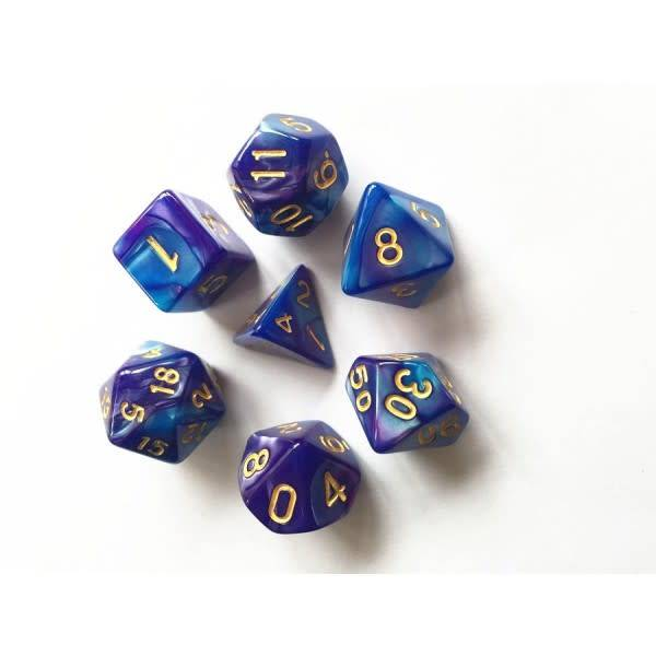 HD Dice, LLC. Blend Blue-Purple Poly Dice (7)