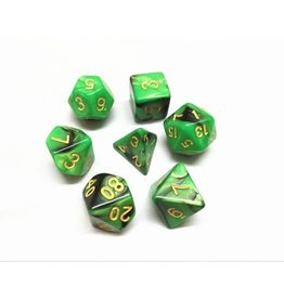 HD Dice, LLC. Blend Green-Black Poly Dice (7)