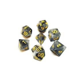 HD Dice, LLC. Ink Black/Yellow Poly Dice (7)