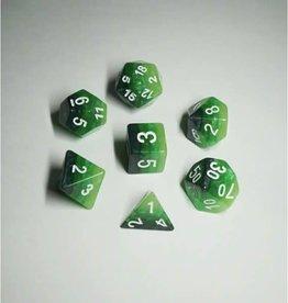 HD Dice, LLC. Gradient Green-White Poly Dice (7)