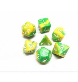 HD Dice, LLC. Blend Green-Yellow Poly Dice (7)