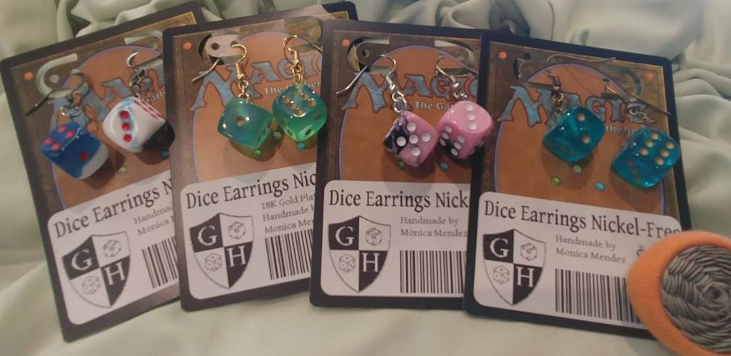 Mon-Mon Montage Hand Crafted Nickel-Free Dice Earrings
