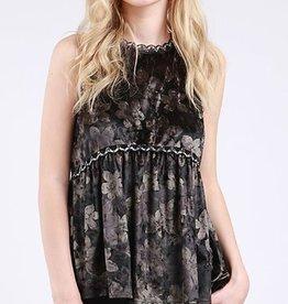 Hippie Girl Velvet Top - Black Floral