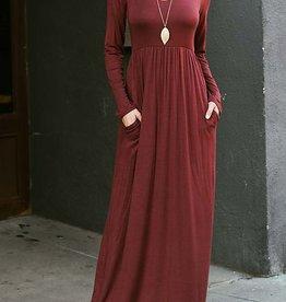 Graceful Long Sleeve Maxi Dress - Marsala