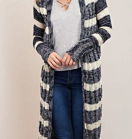 Filling Chilly Long Cardigan - Navy/Sand