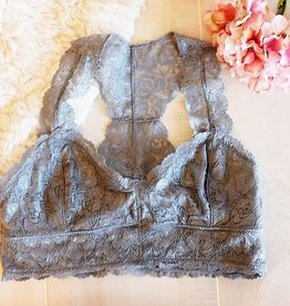 Jasmine Lace Plus Bralette - Light Gray