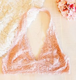 Iris Lace Halter Plus Bralette - Blush
