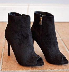 Barbara Peep Toe Heeled Boot - Black