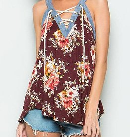 Flowers in the Wind Top - Burgundy