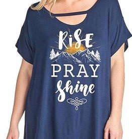 Rise Pray Shine Top - Navy