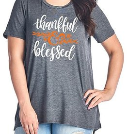 Thankful & Blessed Top - Charcoal