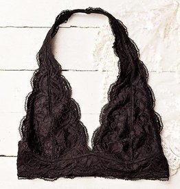 Iris Lace Halter Bralette - Black