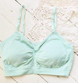 Tabi Cami Bra W Clear Straps - Grayed Jade One Size