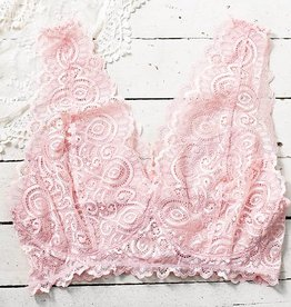 Beautiful Stacy Plus Size Lace Bralette - Blush