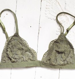 Daisy Triangle Lace Bralette - Olive