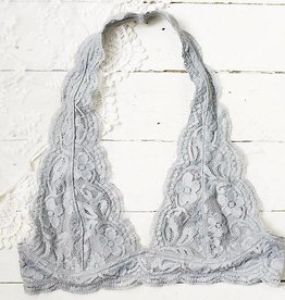 Iris Lace Halter Bralette - Light Gray