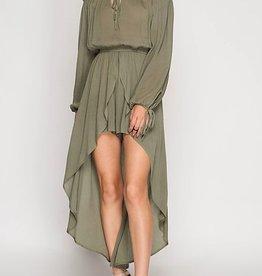 Whimsy Long Sleeve Romper w/ Skirt - Olive