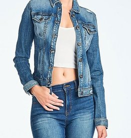 Get Your Attention Denim Jacket- Med Dark